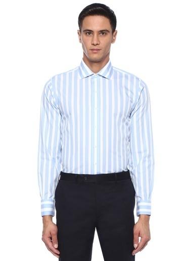 Brooks Brothers Brooks Brothers   Kesik Yaka Çizgili Gömlek 101424520 Mavi